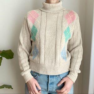 Vtg Liz Sport Turtleneck Pastel Beige Sweater S